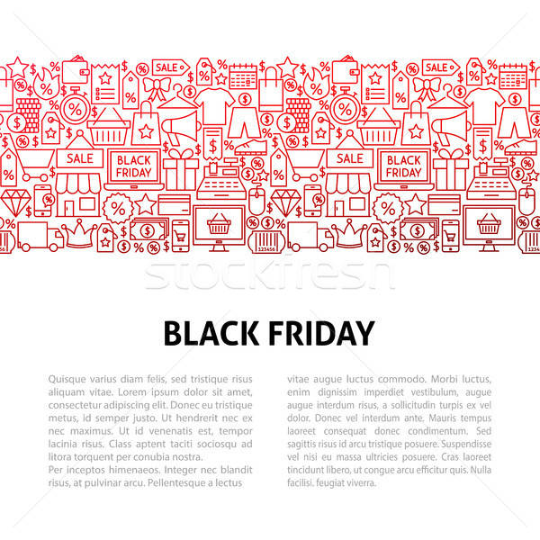 Black friday linie sablon de design schita steag afaceri Imagine de stoc © Anna_leni