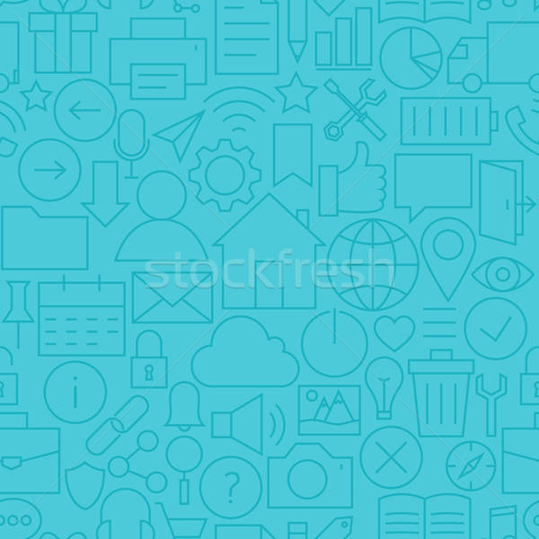 Stock photo: Thin Line Web and Mobile User Interface Seamless Blue Pattern