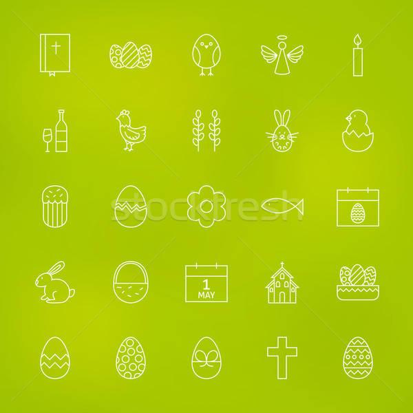 Ortodox húsvét vonal ikon szett elmosódott vektor Stock fotó © Anna_leni