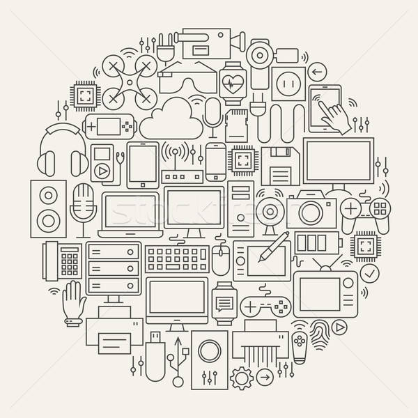 Gadgets and Devices Line Icons Set Circle Shape Stock photo © Anna_leni