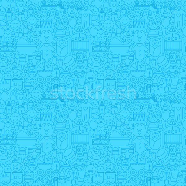 Blue Thin Line Baby Boy Seamless Pattern Stock photo © Anna_leni