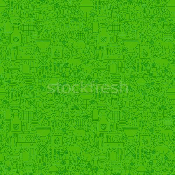 Green Line Grill Seamless Pattern Stock photo © Anna_leni