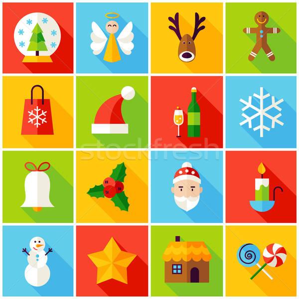 Сток-фото: зима · Рождества · красочный · иконки · с · Новым · годом · праздник