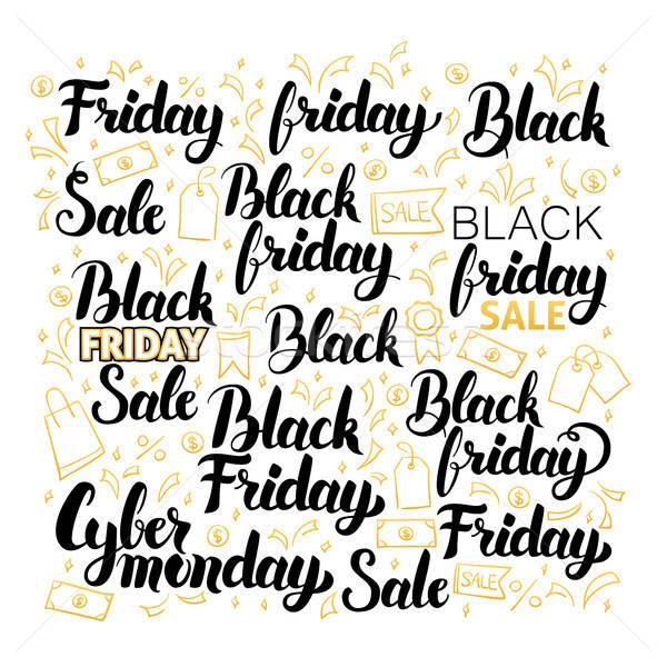 Black friday proiect set cumpărături vânzare caligrafie Imagine de stoc © Anna_leni