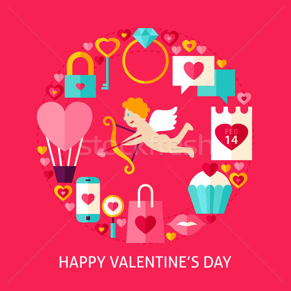 Happy Valentines Day Postcard Stock photo © Anna_leni