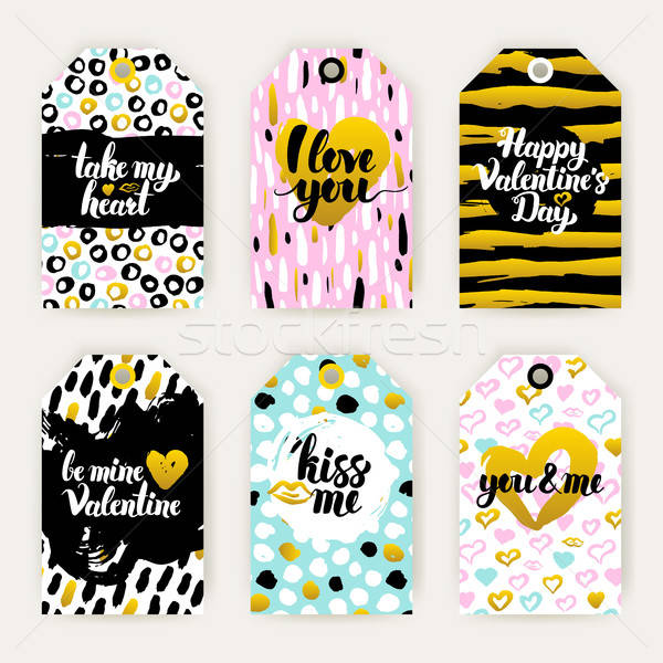 Valentine Day Trendy Gift Labels Stock photo © Anna_leni