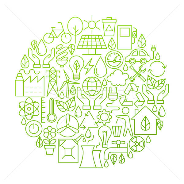 écologie ligne icône cercle design vert Photo stock © Anna_leni