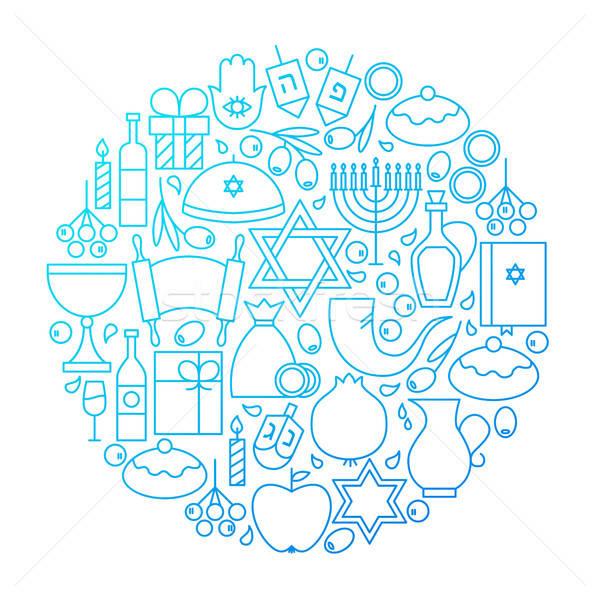 Hanukkah Line Icon Circle Design Stock photo © Anna_leni