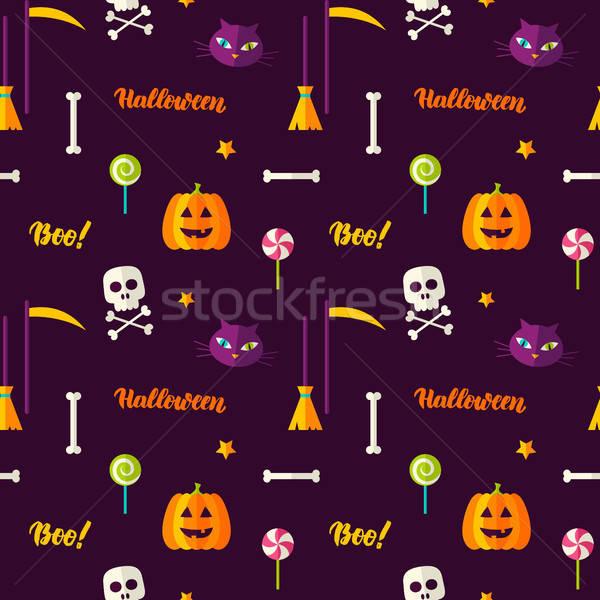Halloween nyomtatott végtelen minta trükk csemege textúra Stock fotó © Anna_leni
