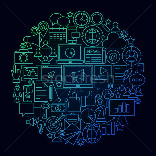 Stockfoto: Marketing · lijn · icon · cirkel · digitale · objecten