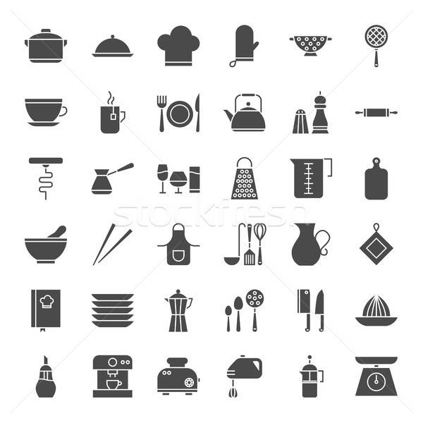 Kitchen Utensils Solid Web Icons Stock photo © Anna_leni