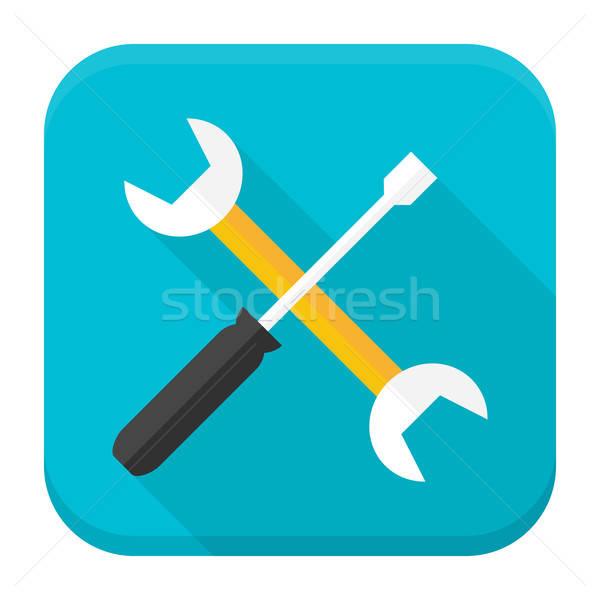 Chave inglesa chave de fenda aplicativo ícone longo sombra Foto stock © Anna_leni