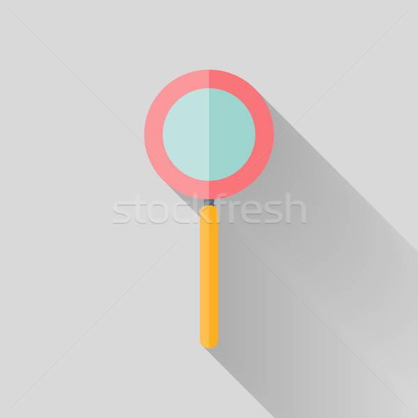Flat loupe icon over grey Stock photo © Anna_leni