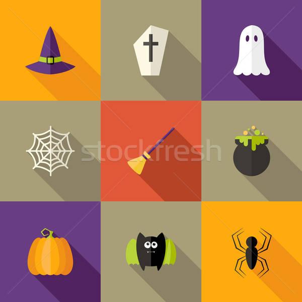 Stock photo: Halloween Squared Flat Icons Set 4