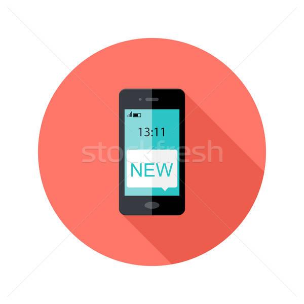 Smartphone App Notification Circle Flat Icon Stock photo © Anna_leni