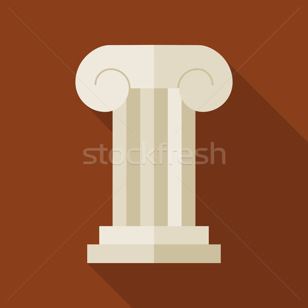 Flat History Ancient Ionic Pillar Illustration with long Shadow Stock photo © Anna_leni