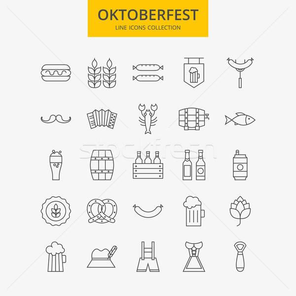 Line Oktoberfest Icons Big Set Stock photo © Anna_leni