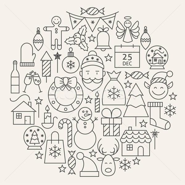 Christmas New Year Holiday Line Icons Set Circular Shaped Stock photo © Anna_leni