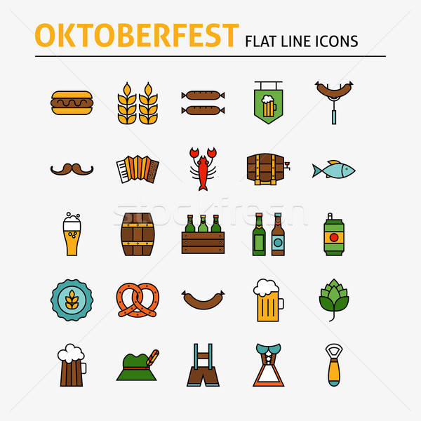 Oktoberfest Beer Colorful Flat Line Icons Set Stock photo © Anna_leni