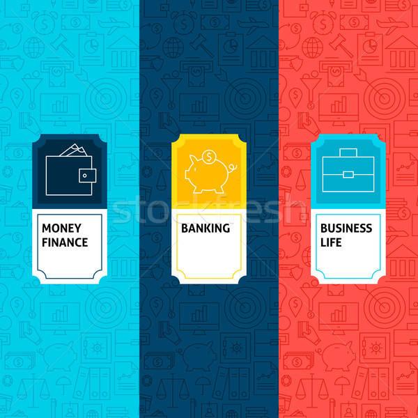 Line Finance Patterns Set Stock photo © Anna_leni