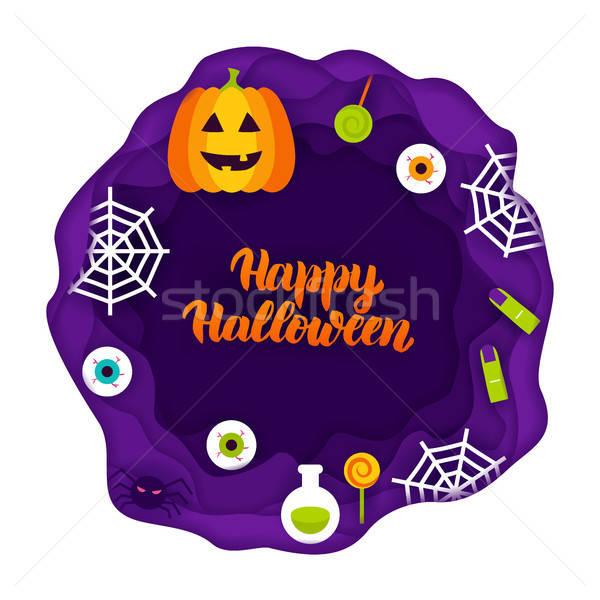 Happy Halloween Papercut Concept Stock photo © Anna_leni