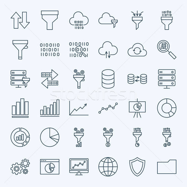 Line Filter Funnel Icons Stock photo © Anna_leni