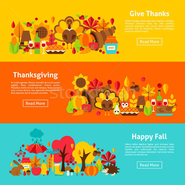 Thanksgiving Web Horizontal Banners Stock photo © Anna_leni