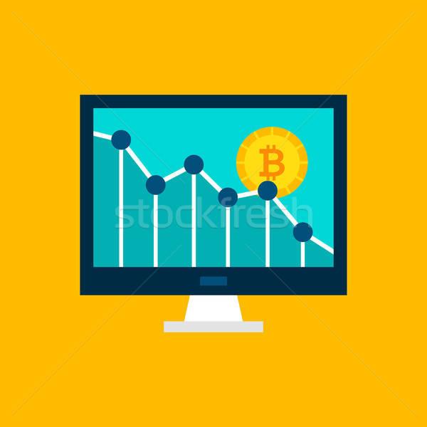 Bitcoin aşağı grafik finansal istatistik göstermek Stok fotoğraf © Anna_leni