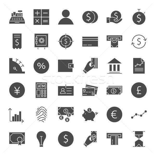 Finance Money Solid Web Icons Stock photo © Anna_leni