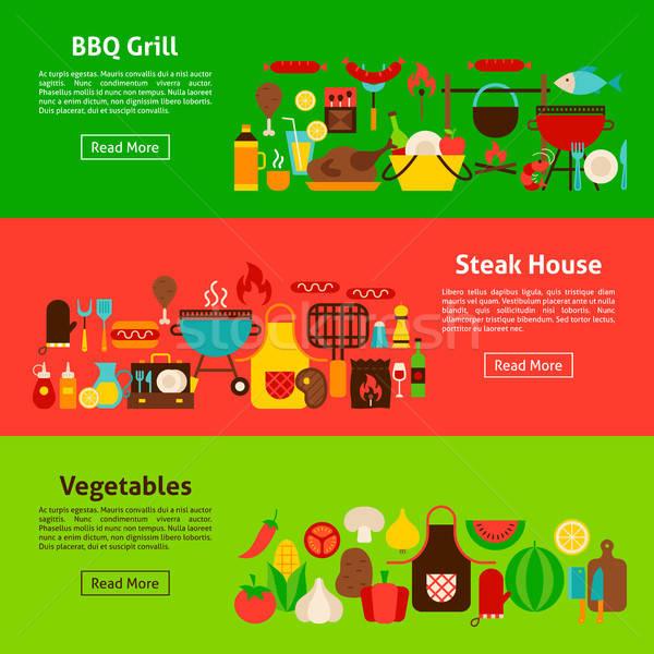 BBQ grill háló bannerek stílus weboldal Stock fotó © Anna_leni