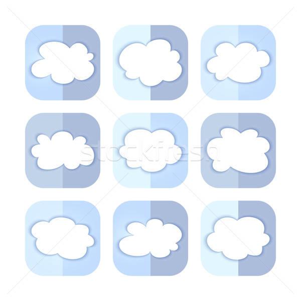 Jasnoniebieski chmura icon zestaw niebieski informacji przycisk Zdjęcia stock © Anna_leni