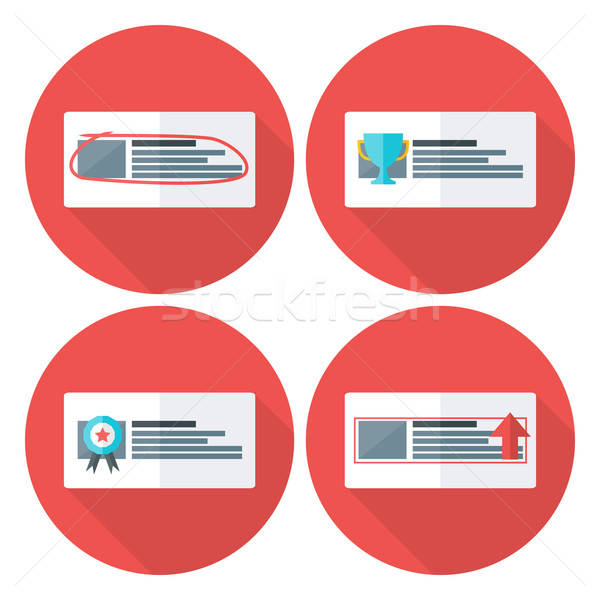Stock photo: Advert flat circle icons set with long shadow