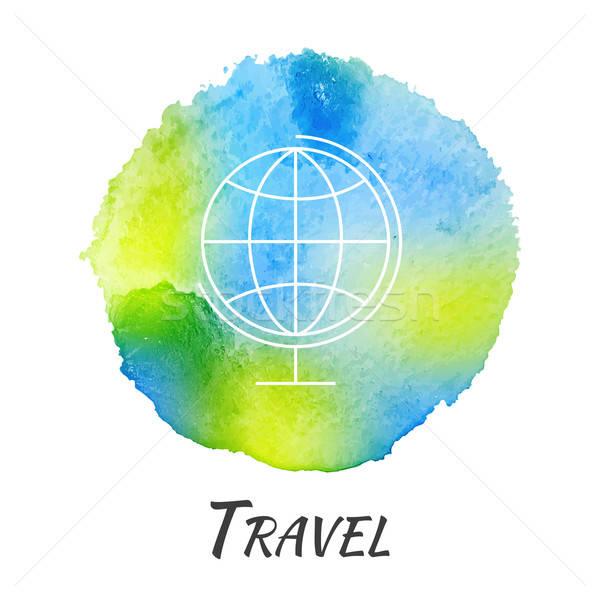 Stock fotó: Világ · földgömb · utazás · vektor · vízfesték · oktatás