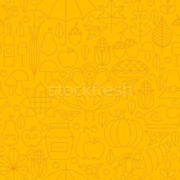 Thin Thanksgiving Dinner Line Holiday Seamless Yellow Pattern Stock photo © Anna_leni