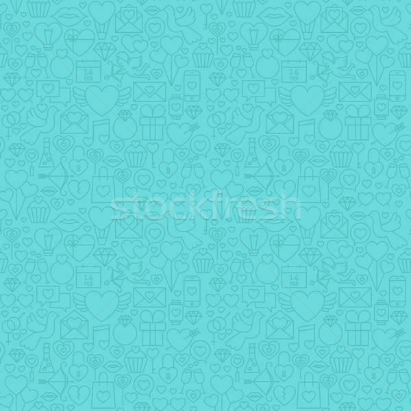 Blue Thin Line Valentine`s Day Seamless Pattern Stock photo © Anna_leni