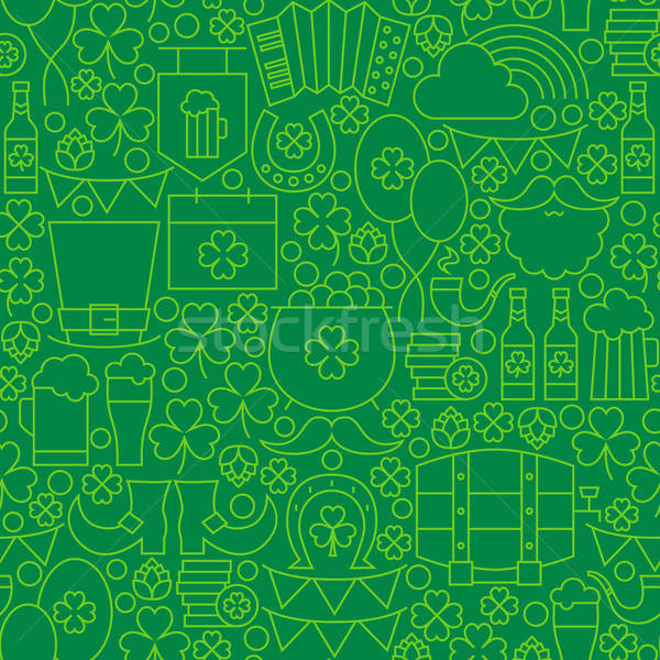 Thin Green Line Irish Saint Patrick Day Seamless Pattern Stock photo © Anna_leni