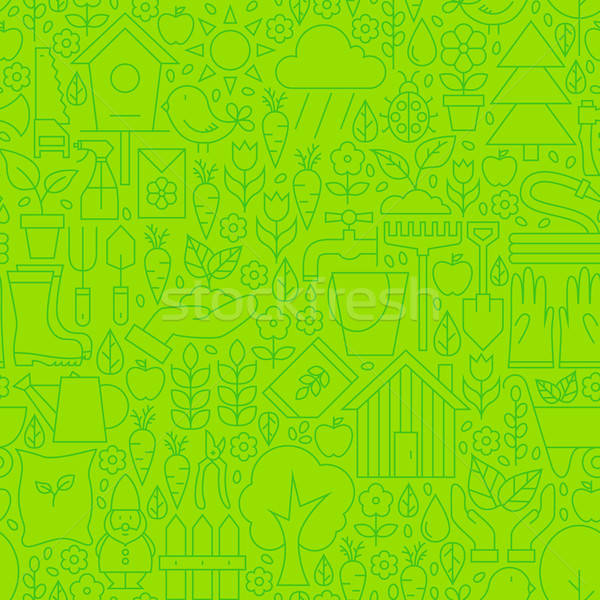 Thin Gardening Tools Line Seamless Green Pattern Stock photo © Anna_leni