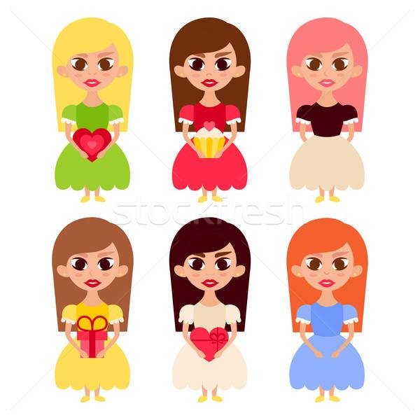 Schönen Mädchen Karikatur Zeichen Prinzessin Kleider Stock foto © Anna_leni