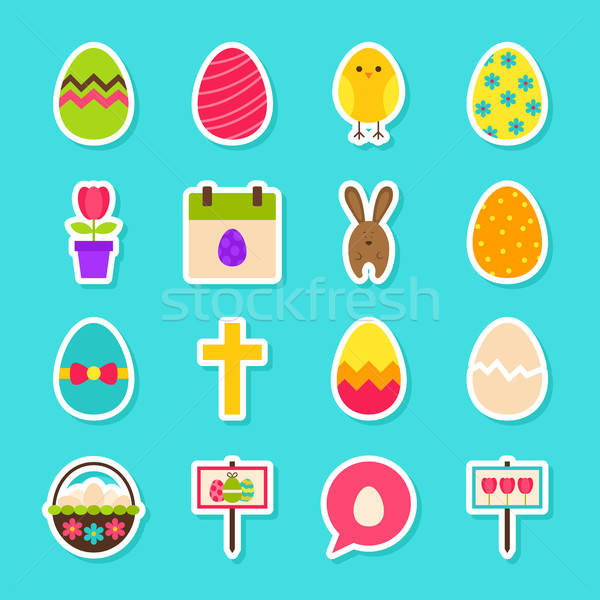 Kellemes húsvétot matricák stílus gyűjtemény tavasz ünnep Stock fotó © Anna_leni