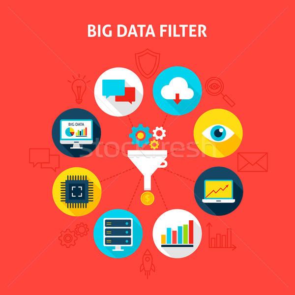 Stockfoto: Groot · gegevens · filteren · business · infographics · cirkel
