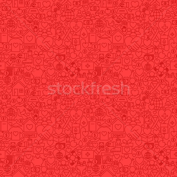 Charity Red Line Seamless Pattern Stock photo © Anna_leni