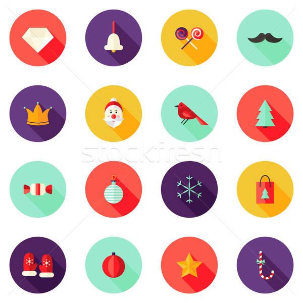 Stock photo: Christmas Circle Flat Icons Set 1