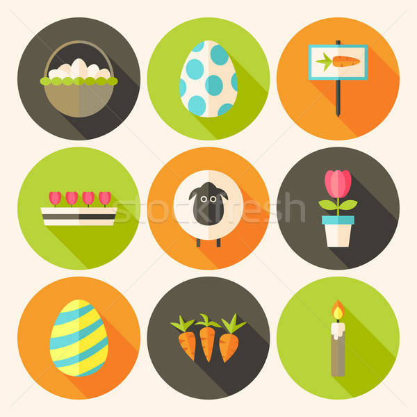Easter flat styled circle icon set 4 with long shadow Stock photo © Anna_leni