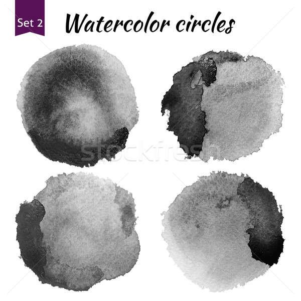 Aquarel donkergrijs cirkels ingesteld kunst significant Stockfoto © Anna_leni