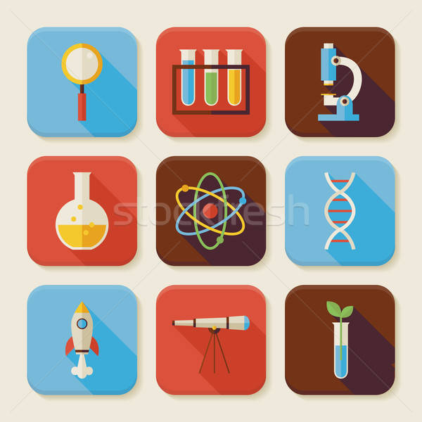 Flat Science and Education Squared App Icons Set Stock photo © Anna_leni