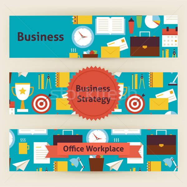 İş stratejisi ofis işyeri vektör şablon afişler Stok fotoğraf © Anna_leni