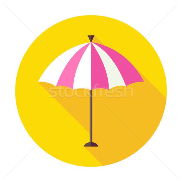 Flat Sun Summer Umbrella Circle Icon with Long Shadow Stock photo © Anna_leni