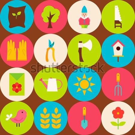 Flat Gardening and Flowers Icons Set Stock photo © Anna_leni