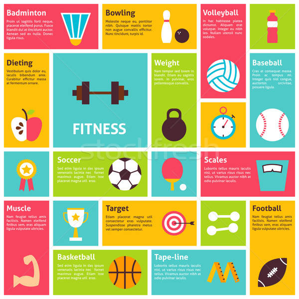 Flat Design Vector Icons Infographic Sport Recreation Fitness Co Stock photo © Anna_leni
