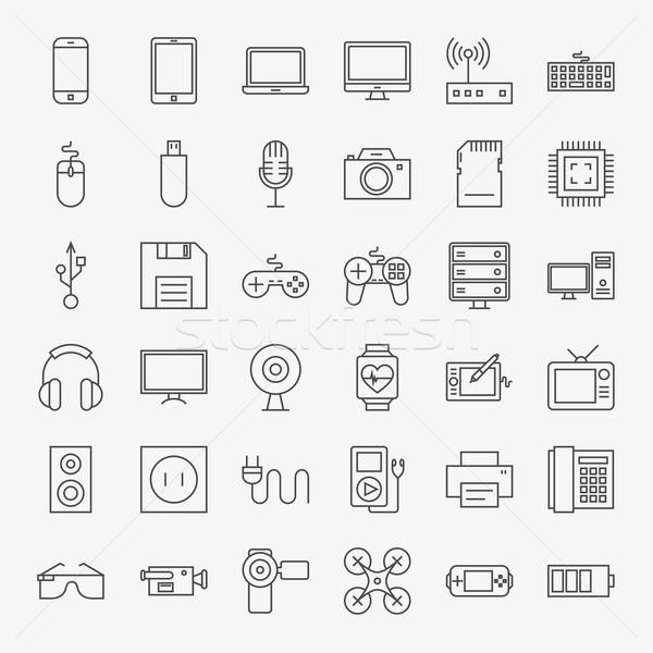 Gadgets and Devices Line Art Design Icons Big Set Stock photo © Anna_leni